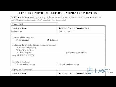 Learn How to Fill the Form B-8 Chapter 7 Individual Debtor's Statement of Intention