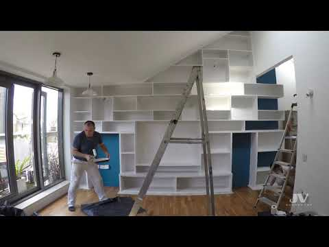 fitted bookcase with cupboards installation