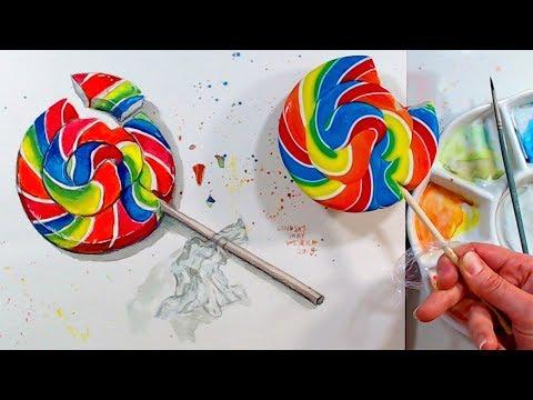 LIVE: Rainbow Lollipop in Watercolors 12:30pm ET 3/23/18