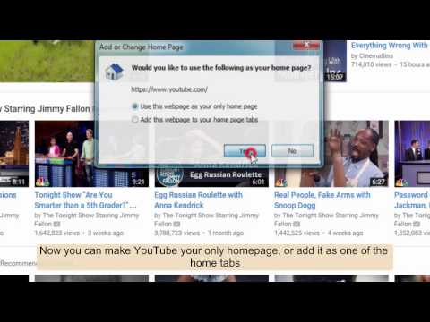 How to make YouTube your homepage