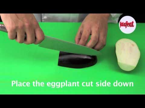 Lesson: Cutting eggplant to big dice - Fatafeat Academy - Fatafeat