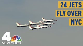 24 Military Jets Fly Over Hudson River To Statue Of Liberty