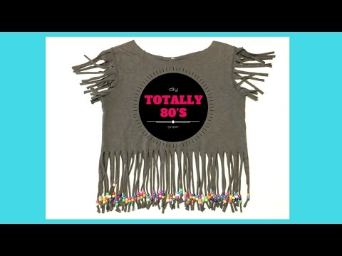 Totally Awesome DIY 80's Fringe Shirt With Pony Beads