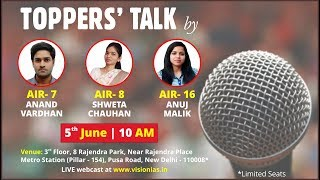 Toppers Talk by AIR-7,8 & 16, CSE 2016