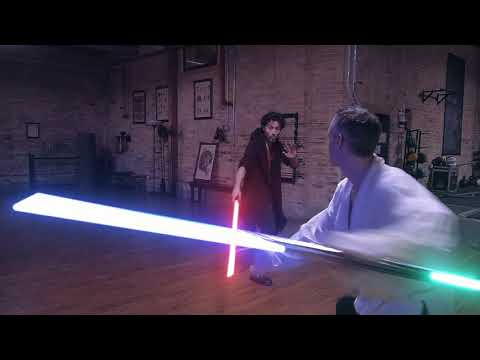 STAR WARS double bladed lightsaber practice duel 1.3.2018