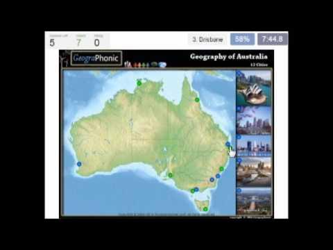 geografi Australia, Peta fizikal dengan bandar-bandar terbesar, Sydney, Melbourne, Perth,