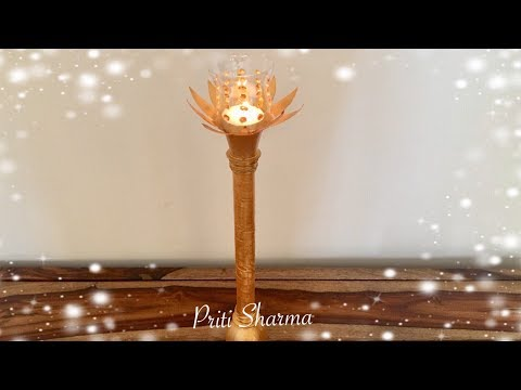 Empty Plastic Bottles Craft Idea / Candle Stand From Waste Plastic Bottles DIY   Priti Sharma