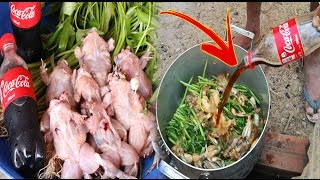 WOW!! Amazing Two Children Cook Frog With Coca Cola For Lunch - How To Cook Frog In Cambodia