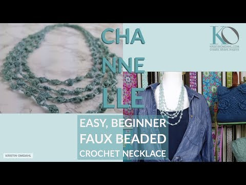 How to Make Chanelle Faux Beaded Crochet Chain & Puff Stitch Necklace Beginner Easy Pattern