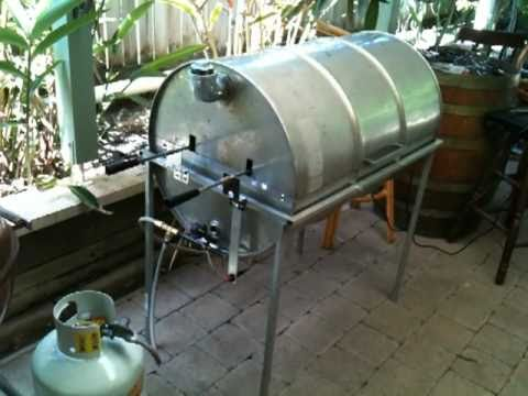 44 Gallon drum gas BBQ/spit rotisserie/smoker.