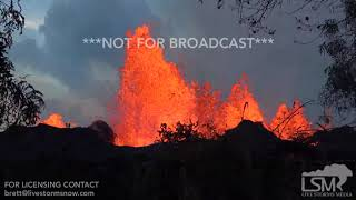 5-21-2018 Kapoho, Hi Lava flow pushes onto geothermal property, through fence, volcano 4k
