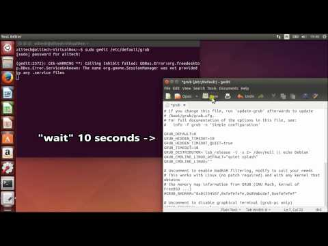 edit grub config for greater boot timeout ubuntu