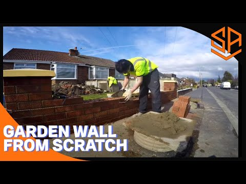 Bricklaying with Steve and Alex brickwork   NEW GARDEN WALL