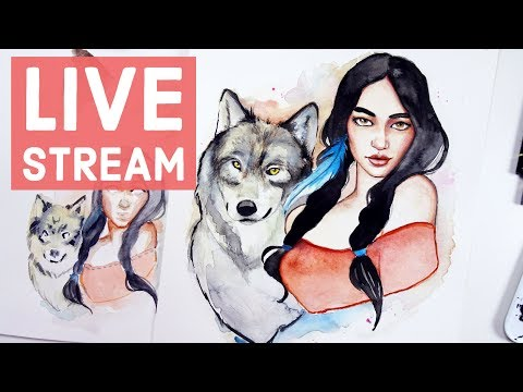 Winter Watercolor Painting【Girl & Wolf】- LIVE STREAM