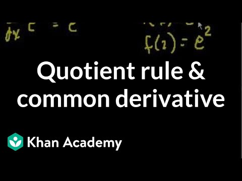 Quotient rule and common derivatives | Taking derivatives | Differential Calculus | Khan Academy