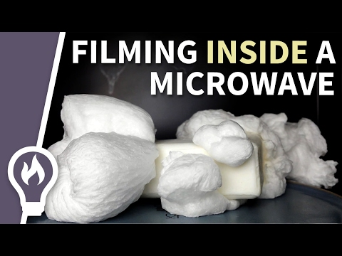 Expanding soap in a microwave - filmed from in inside #1