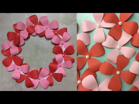 Paper Flower Wall Hanging - DIY Wall Decoration Hanging Flowers - Paper Crafts Ideas