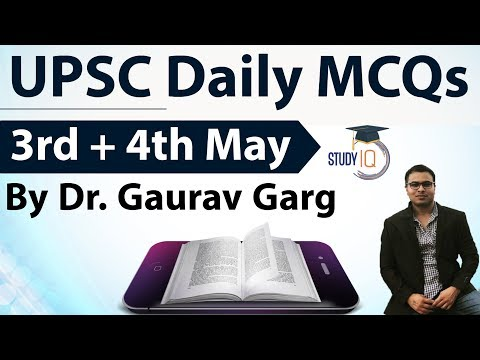 UPSC Daily MCQs on Current Affairs - 3 + 4 May 2018 - for UPSC CSE/ IAS Preparation Prelims