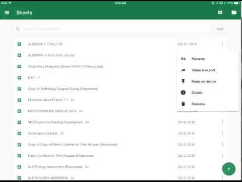 Google Sheets on the iPad