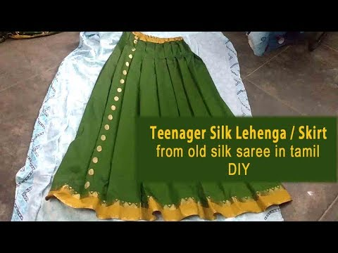 long skirt cutting and stitching in tamil from Old Silk Saree (DIY) | how to make skirt from saree
