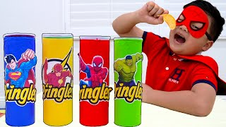 Alex and Eric Pretend Play with Magic Superhero Chips | Kids Food Toys Transforms into Superheroes