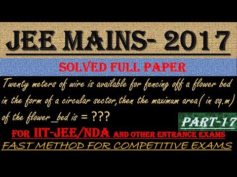 JEE MAINS - 2017 SOLVED MATHEMATICS Part -17 || ALSO IMPORTANT FOR NDA AND OTHER ENTRANCE EXAMS||