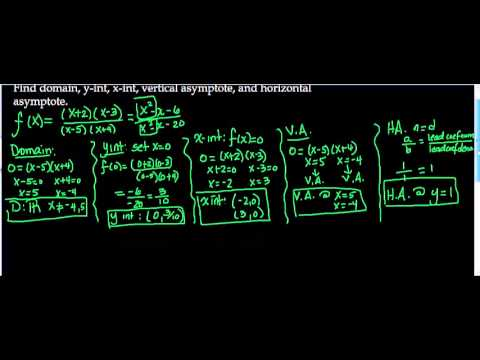 Rational Functions domain, x and y intercepts, vertical and horizontal asymptotes Ex 2