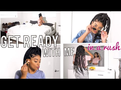 In a Rush MORNING ROUTINE | Get Ready With Me + Box Braids! | jasmeannnn