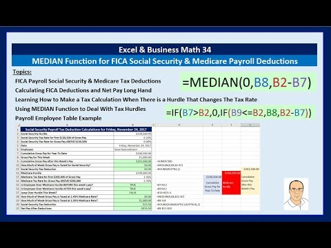 Excel & Business Math 34: MEDIAN Function for FICA Social Security & Medicare Payroll Deductions
