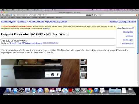 Craigslist Used Dishwasher for Sale by Owner Online - Hotpoint, Kenmore, Maytag and GE