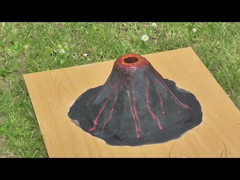 Volcano model with real-fire eruption - Year 4 science project - Part 1