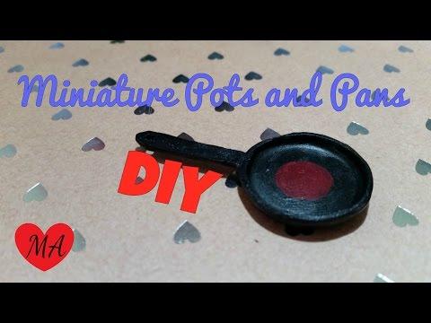MINIATURE pots & pans TUTORIAL // DOlLHOUSE // DIY