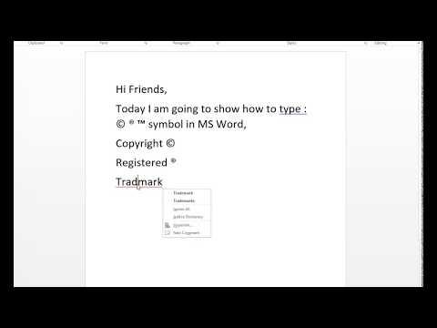 How to type copyright symbol, Registered Symbol, Trademark Symbol,