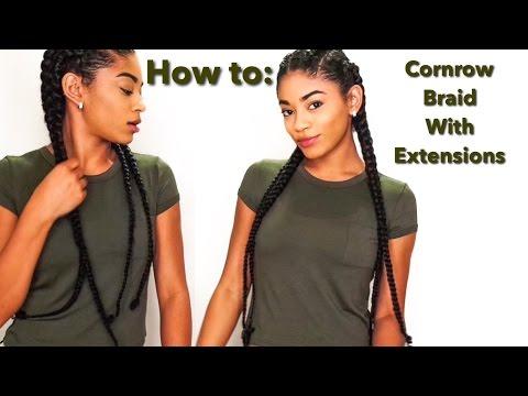 How to: Cornrow Braid with Extensions | jasmeannnn