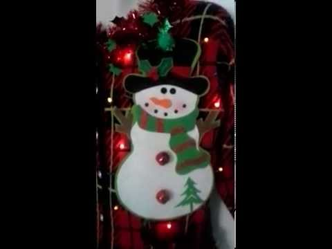Ugly Christmas Sweater Lights Up Snowman