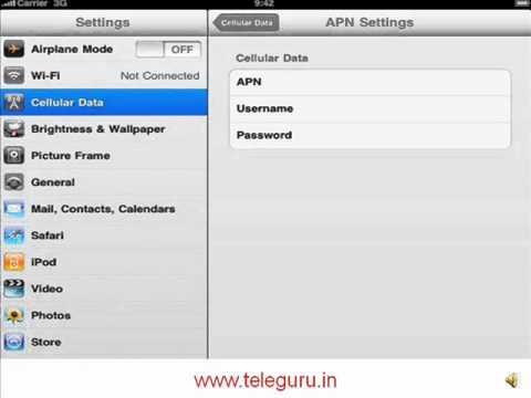 How to set BSNL 3G on iPad,iPad2,iPhone