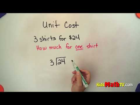 Teach students about unit cost of items video, 2nd to 6th grade