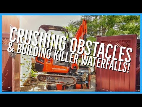 BUILDING A KILLER PONDLESS WATERFALL and Lifting an Excavator Over a Wall!