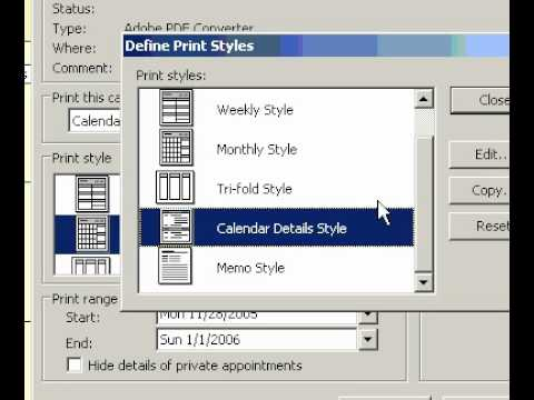 Microsoft Office Outlook 2003 Create a print style