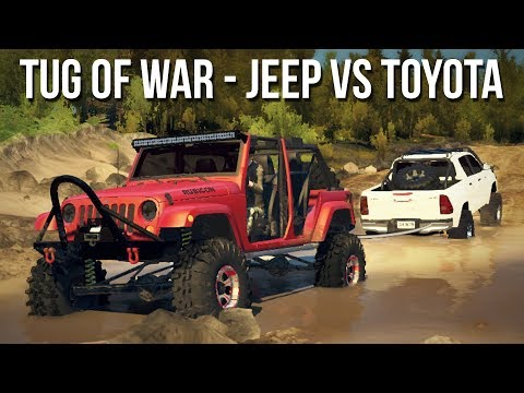 TUG OF WAR - JEEP vs TOYOTA! 4x4 Mudding & Off-Roading! (SpinTires Mods)