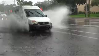 Sarasota, FL Heavy Rain, Flooded Road and Beach - 7/9/2019