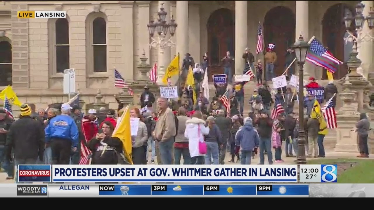 Protesters in opposition of stay-home order gather at Michigan capitol