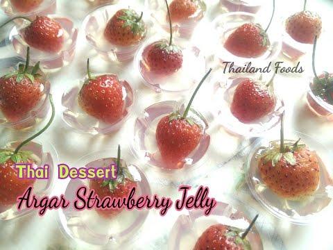 Thai Foods | Agar Strawberry Jelly | Thai dessert