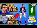 """Streamers React to the *NEW* """"Flex On 'Em"""" Emote & 3 New Fishstick Wraps! - Fortnite Moments"""