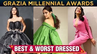 Download Ananya Panday, Deepika Padukone, Janhvi Kapoor | Best & Worst Dressed At Grazia Millennial Awards Video