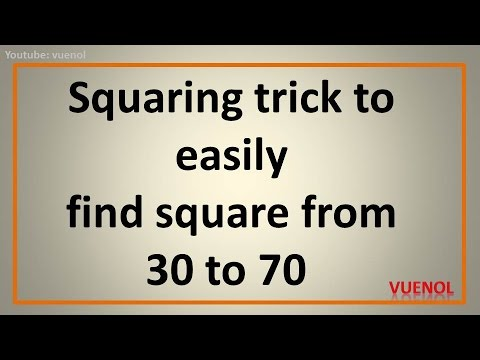 squaring trick to easily find square from 30 to 70 - in your head