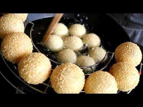 How To Make Chinese Street Food - Fried Sticky Rice -  Sesame Balls Recipe - Street Food