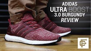 Adidas Ultra Boost Burgundy 3.0 On Feet