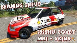 BeamNG Drive Ibishu Covet MRi + 4 Rally and Racing Skins Crash Testing #45