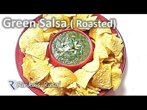 Roasted Green Salsa | Mexican Tomatilo Salsa Verde | RinkusRasoi